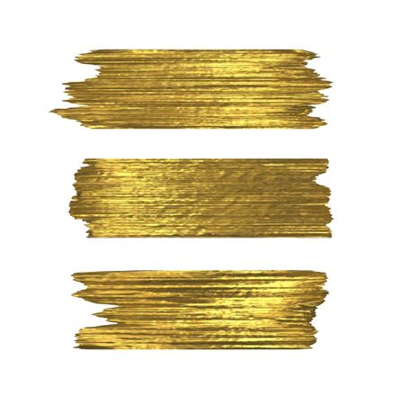Golden glitter brushstrokes set isolated at white background. Shiny gold texture paint stain illustration. Collection of high detail hand drawn brush stroke vector design elements Stock Illustratie