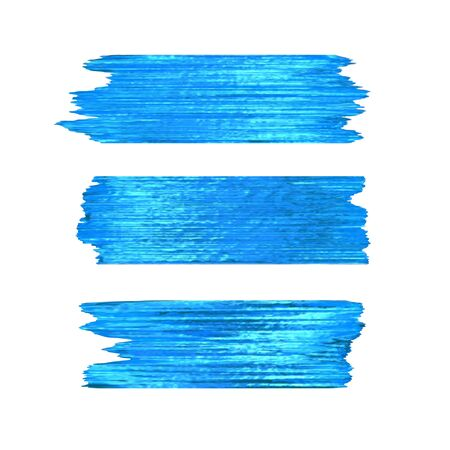 Blue glitter brushstrokes set isolated at white background. Shiny turquoise texture paint stain illustration. Collection of high detail hand drawn brush stroke vector design elements