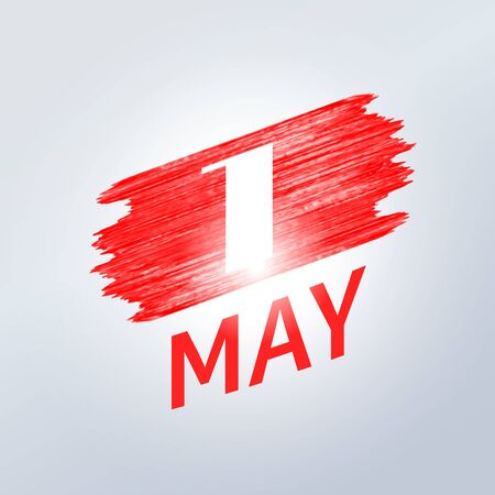 May 1 Labor Day. Vector logo symbol of spring holiday weekend. White number one on a background of a stroke of red shiny paint