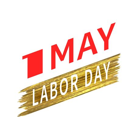 May 1 Labor Day. Vector logo symbol of spring holiday weekend. White number one on a background of a stroke of gold shiny paint