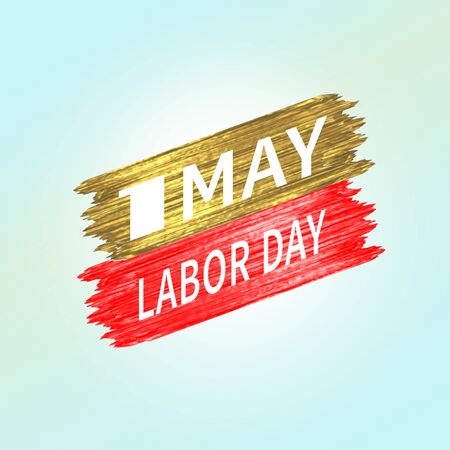 May 1 Labor Day. Festive logo symbol of spring holiday weekend. White bold number one with text on a background of smear or strokes of red and gold shiny paint. Vector illustration Ilustrace