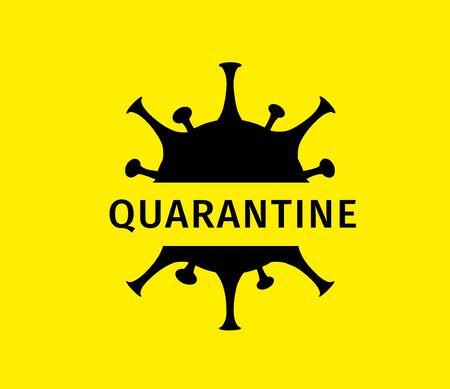 Coronavirus quarantine banner. Protection against dangerous virus. Black coronavirus icon isolated on yellow background with text Quarantine. Health care concept. Vector illustration