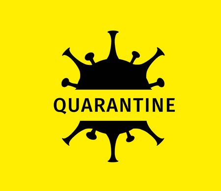 Coronavirus quarantine banner. Protection against dangerous virus. Black coronavirus icon isolated on yellow background with text Quarantine. Health care concept. Vector illustration