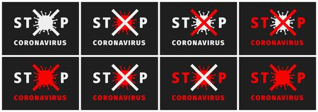 Stop coronavirus sign. Coronavirus outbreak alert. Fight against coronavirus. Pandemic medical concept with dangerous cells. Set of warning banners, posters, flyers, announcements. Vector illustration 向量圖像
