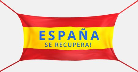 Spain get well soon. Text in spanish language. Protective mask flag of spain from covid-19. Fight for life Spain concept. Support for the spanish people. Prayer for the Spaniards. Vector illustration Stock Illustratie