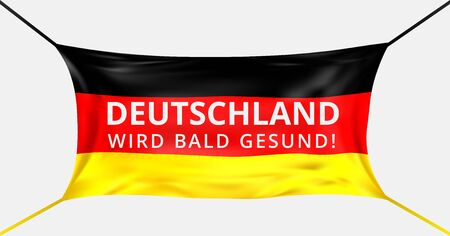 Germany get well soon. Text in German language. Protective mask from Covid-19 in form of German flag. Concept of batle for life Germany. Support german people. Prayer for Germans. Vector illustration Stock Illustratie