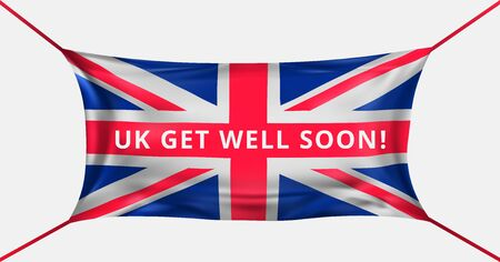 UK get well soon. Protective mask in the form of the United Jack flag from Kovid-19. Fight for life United Kingdom concept. Support for the italian people. Prayer for Italians. Vector illustration