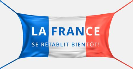 France get well soon. Text in french language. Protective mask from Covid-19 in form of France flag. Concept of batle for life France. Prayer, support for the french people. Vector illustration