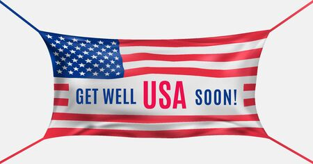 USA get well soon. Protective mask in the form of flag of Us against covid-19. Concept of batle for life US. Prayer, support for the american people. Vector illustration