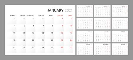 Wall quarterly calendar template for 2021 in a classic minimalist style. Week starts on Monday. Set of 12 months. Corporate Planner Template. A4 format horizontal. Ready to print. Vector illustration