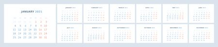 Wall quarterly calendar template for 2021 in a modern minimalist style. Week starts on Monday. Set of 12 months. Corporate Planner Template. Horizontal format . Ready to print. Vector illustration