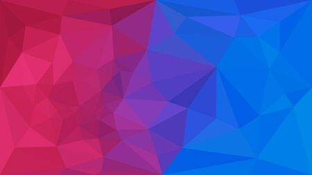 Mixing red and blue triangular background. Geometric crumpled triangle low poly style gradient illustration. Futuristic, tech, fashion, luxury application. Vector polygonal design for your business