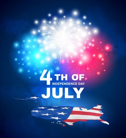4th of July. US Independence day. Celebration of the USA. Patriotic holiday design. USA map - textured american flag with fireworks and inscription in the night sky with clouds. Vector illustration