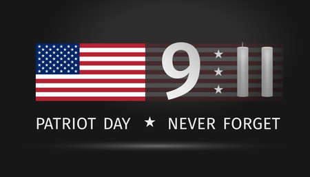 9/11 USA Patriot Day. Never Forget September 11, 2001. Conceptual illustration for Patriot Day US banner. USA flag and Twin Towers stylized with two candles on black background. Vector illustration