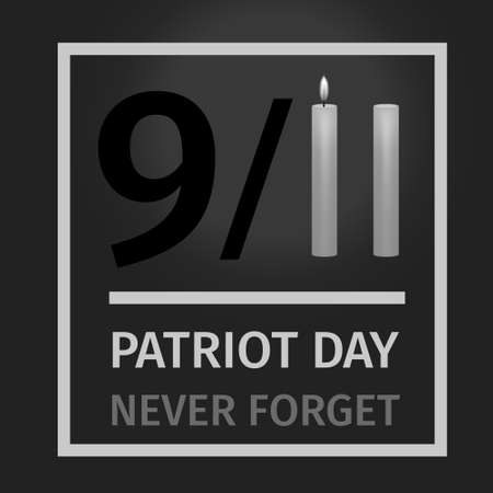 9/11 USA Patriot Day. Never Forget September 11, 2001., National Day of Remembrance. Conceptual illustration for Patriot Day US mourning poster. Twin Towers stylized with two candles on black background. Vector illustration