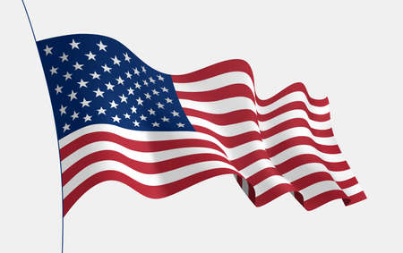 USA flag waving in the wind. 3d vector flag with folds. Vector object for illustrating posters, flyers, banners, advertising