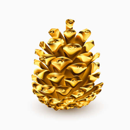 Gold pine cone. Golden christmas decoration. Realistic 3d object isolated on white. Greeting card template design element. Pinecone vector icon, symbol, decor. Vector graphics illustration