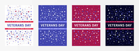 Veterans Day. Honoring All Who Served. November 11th. USA veterans day holiday banners set. United state of America, USA design. Vector poster design templates