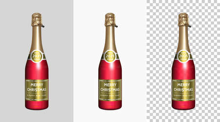 Red Champagne Bottle with Gold Labels Merry Christmas and Happy New Year 2021. Isolated Realistic Sparkling Wine Bottle with Preview on Gray, White and Checkered background. 3d Vector Object Illusztráció