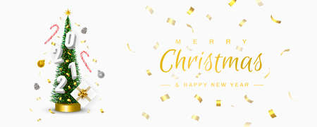 Christmas and New Year 2021 greeting card. Conical Christmas Tree. Pine cones, Sweets, Confetti, Gifts, 2021 numbers, Christmas balls circling around the Xmas tree. Winter holidays banner. 3D Vector