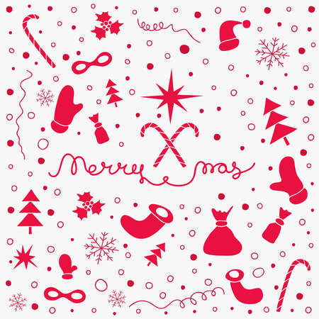 Christmas background with set of Christmas things and lettering Merry Xmas. Hand drawn holiday New Year pattern. Design element template for cards, covers, prints, web, wrapping. Vector illustration