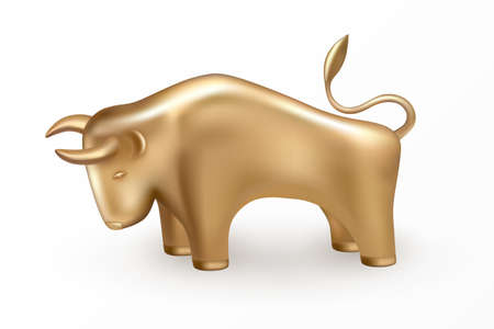 Symbol of the New Year 2021 is the sign of the Bull on the Chinese lunar calendar. Golden Bull isolated 3d icon and logo. Realistic gold statuette of cow or ox. Vector illustration