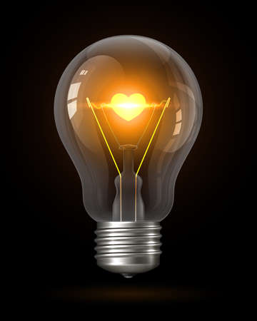 Realistic glowing light bulb with transparency isolated on black. Inside the lamp is incandescent filament with glowing heart. Incandescent Lamp. Creative Design Element. Love concept. 3d vector Векторная Иллюстрация