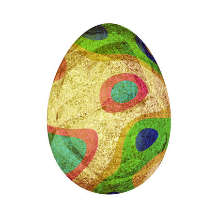Gold Easter Egg. Golden egg decorated with foil with iridescent liquid paints with abstract patterns of red, green mint colors. Decorative element, symbol of the holiday. 3D render art illustration