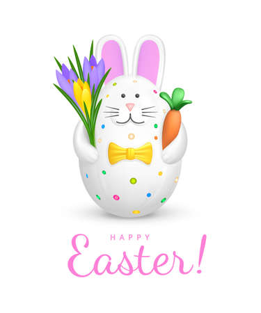 Happy Easter greeting card. Cute Bunny shaped Easter Egg. Figurine of white rabbit with pink ears, multi-colored spots and yellow bow tie holding bouquet of crocuses and a carrot. 3d vector