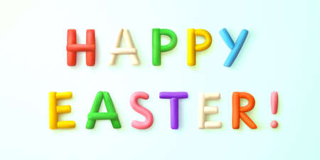 Happy easter. Congratulatory inscription of colorful letters from plasticine isolated on light blue background with soft shadow. Easter decoration. Design element. Realistic 3D Vector illustration