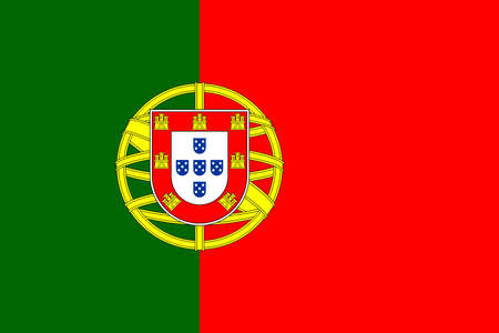 Official national flag of Portugal. Flag of the Portuguese Republic, correct proportions and colors. Two vertical stripes: red and green and coat of arms. Flat icon. Texture map. Vector illustration Vettoriali