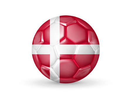 3D soccer ball with the Denmark national flag. Danish national football team concept. Isolated on white. Realistic vector illustration Vetores