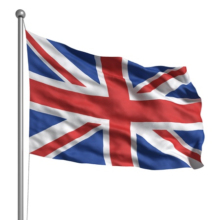 red flag: Flag of the United Kingdom (Isolated)