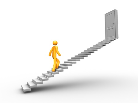 climbing stairs: Escalera de �xito Foto de archivo