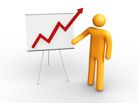 man pointing up: Graph Chart.