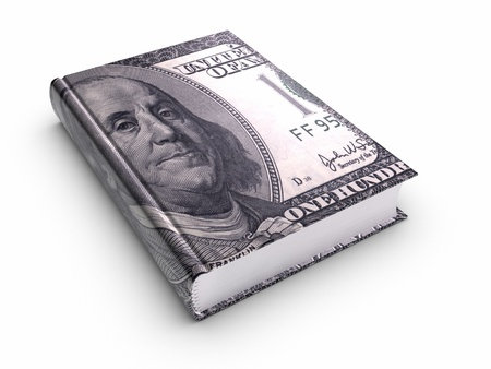 guide book: Book Covered with 100 US Dollar. Stock Photo