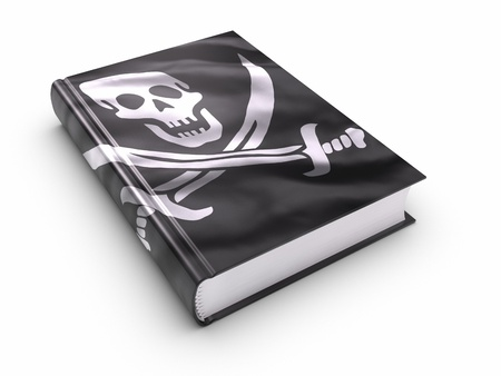 Book covered with pirates flag.  photo