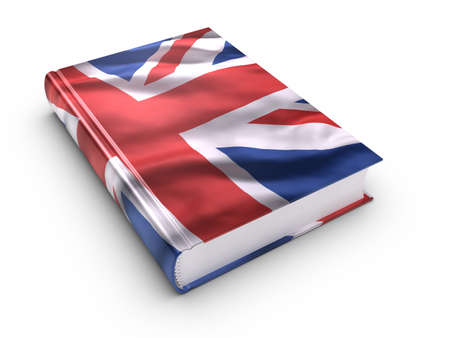 guidebook: Book covered with British flag. Stock Photo