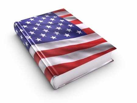 textbooks: Book covered with American flag.