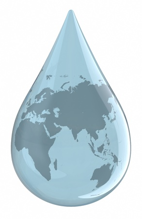 Water droplet with World Map.  photo