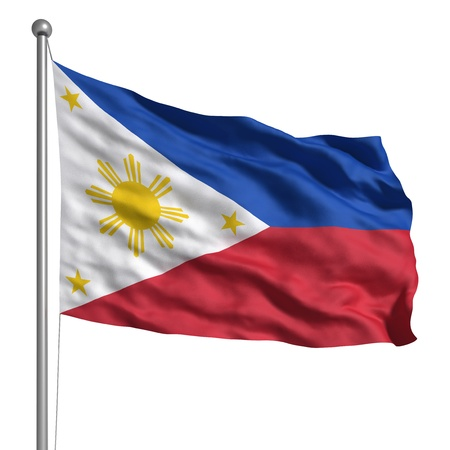 flag pole: Flag of the Philippines (Isolated) Stock Photo