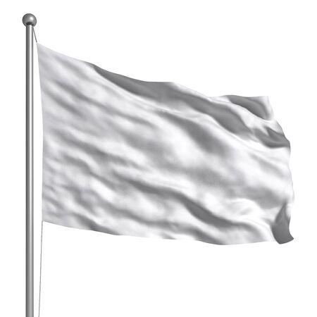 bandera blanca: Bandera blanca aislada Foto de archivo
