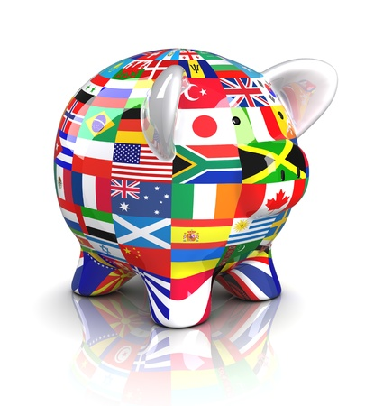 Piggy Bank - Collection of flags (Isolated) photo