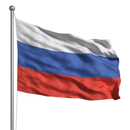 flag pole: Flag of Russia (Isolated) Stock Photo