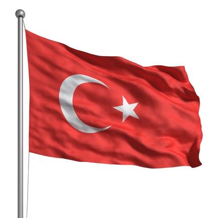 tacchino: Bandiera della Turchia (isolato) Archivio Fotografico