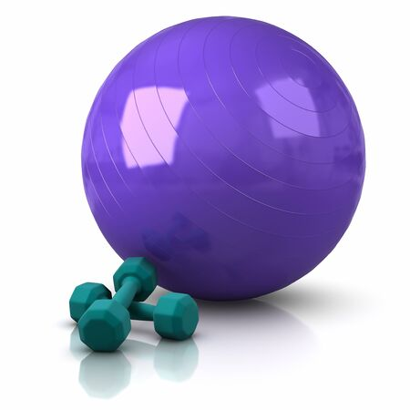 Fitness Ball and Weights. Stock Photo - 9596741