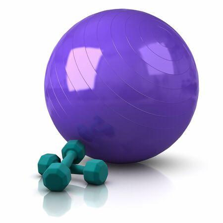 Fitness-Ball und Gewichte.