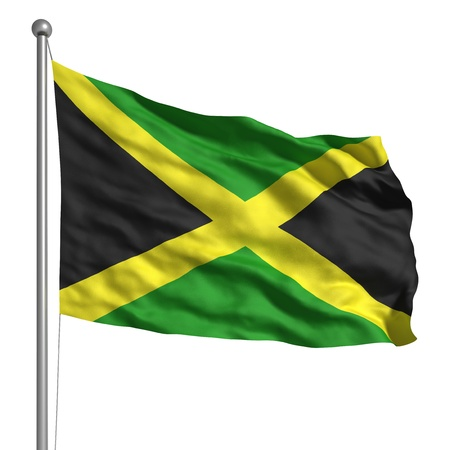 green flag: Flag of Jamaica (Isolated)