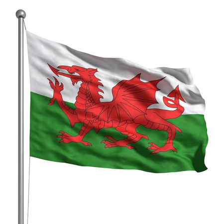 visible: Wales flag. Rendered with fabric texture (visible at 100%) Stock Photo