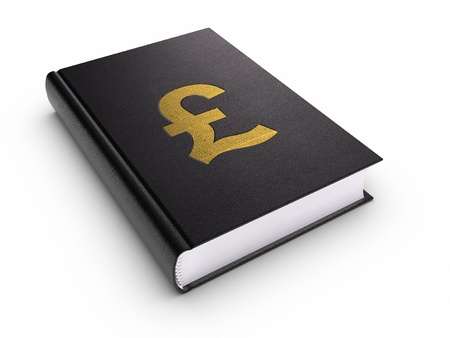 guidebook: Book with Pound sign. Clipping path included. Stock Photo